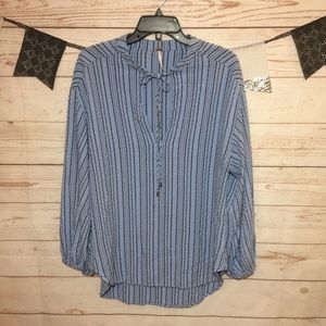 Free People Pinstripe High-Low Tunic Size M